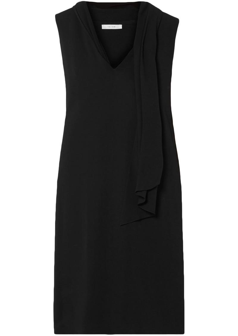The Row Woman Flynn Silk-trimmed Layered Cady Dress Black