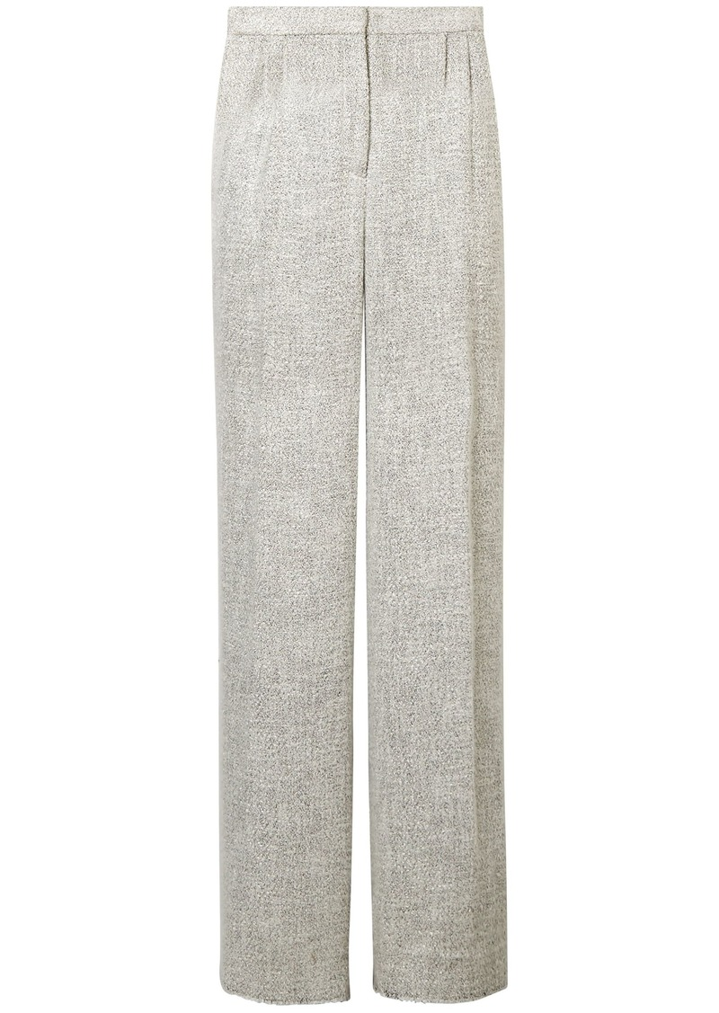 The Row Woman Hester Tweed Wide-leg Pants Light Gray