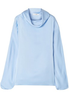 The Row Woman Iona Draped Silk-satin Blouse Light Blue