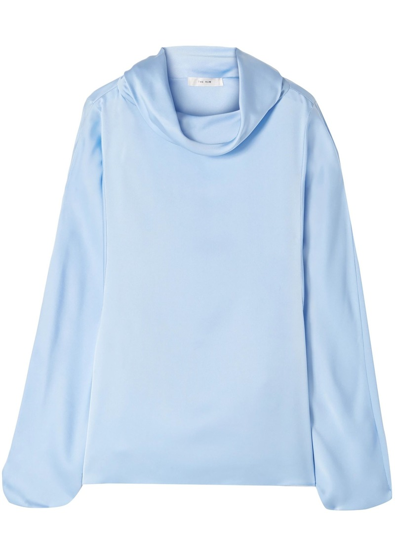 The Row Woman Iona Draped Silk-satin Blouse Light Blue