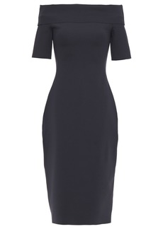 The Row Woman Jayna Off-the-shoulder Scuba Dress Midnight Blue