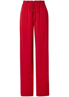 The Row Woman Jr Stretch-silk Wide-leg Pants Claret