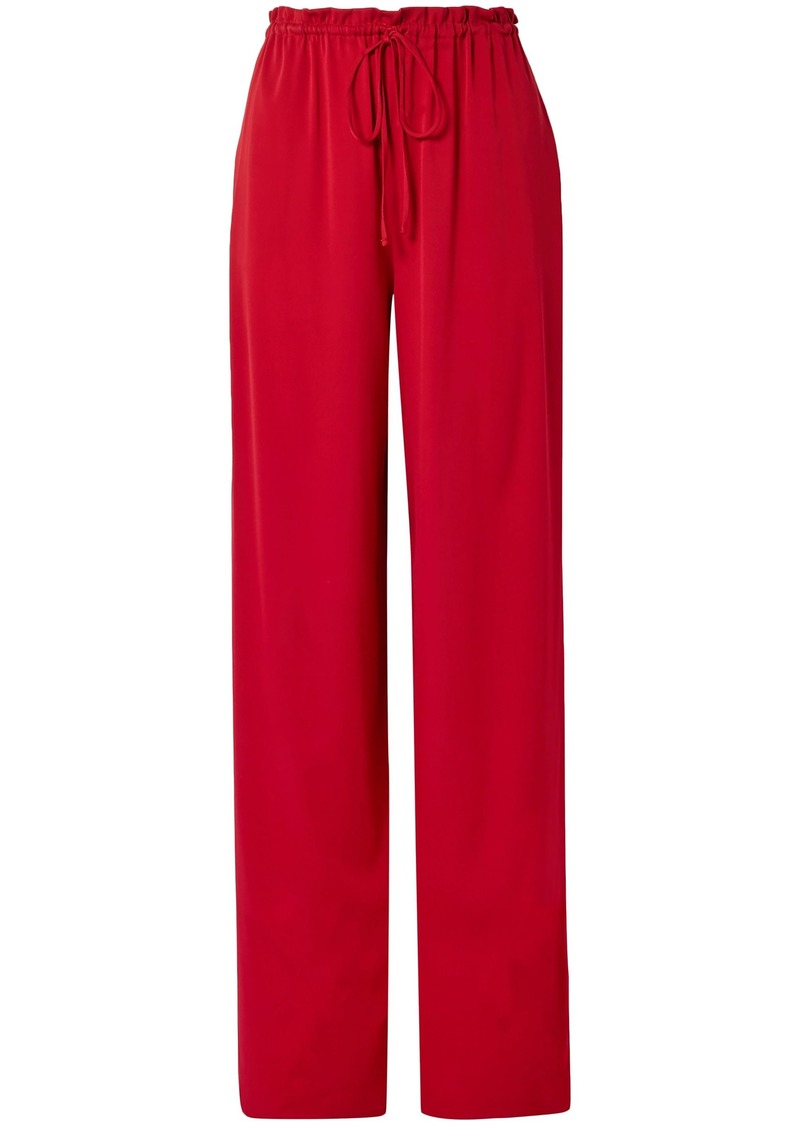 The Row Woman Jr Stretch-silk Wide-leg Pants Claret