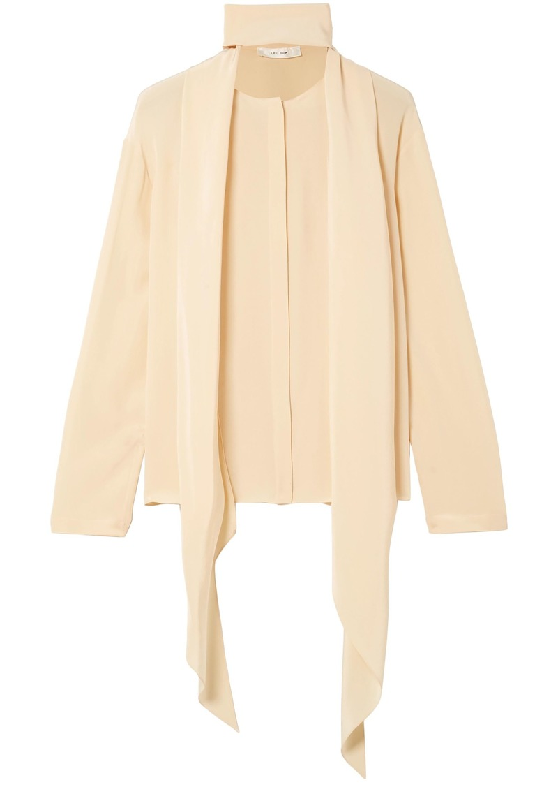 The Row Woman Katina Draped Silk Blouse Cream