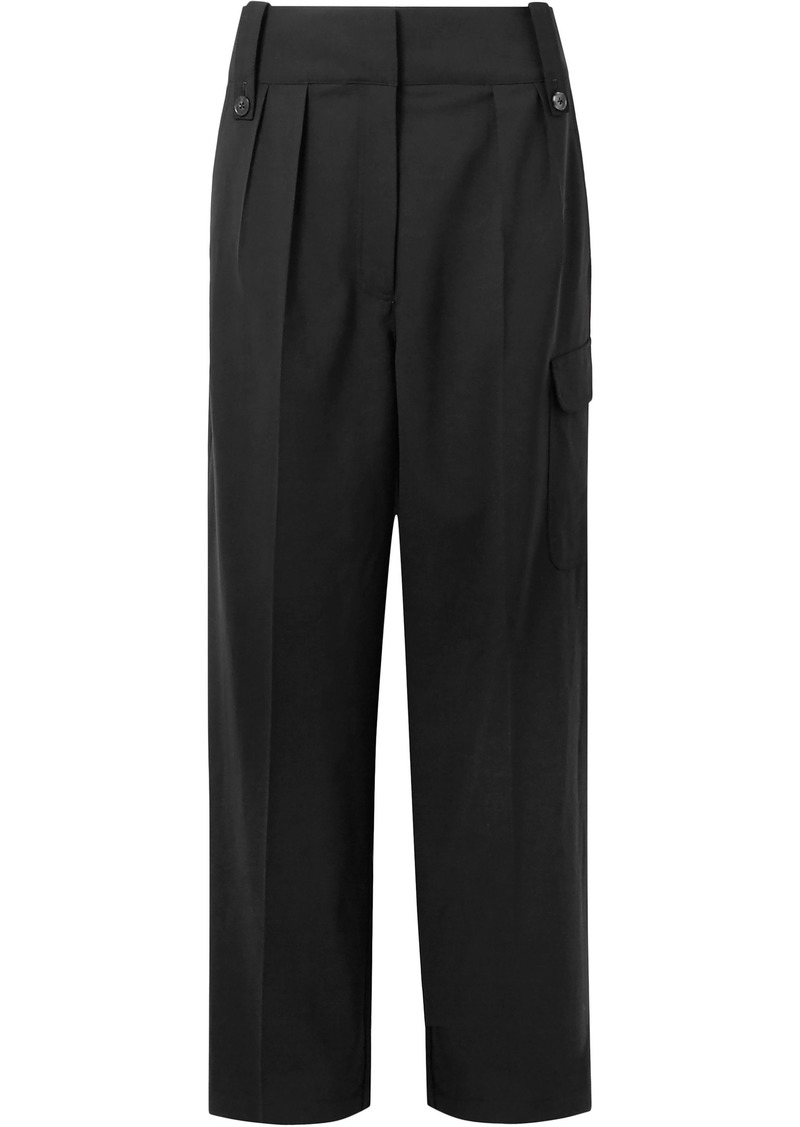 The Row Woman Kiefer Pleated Wool-blend Straight-leg Pants Black