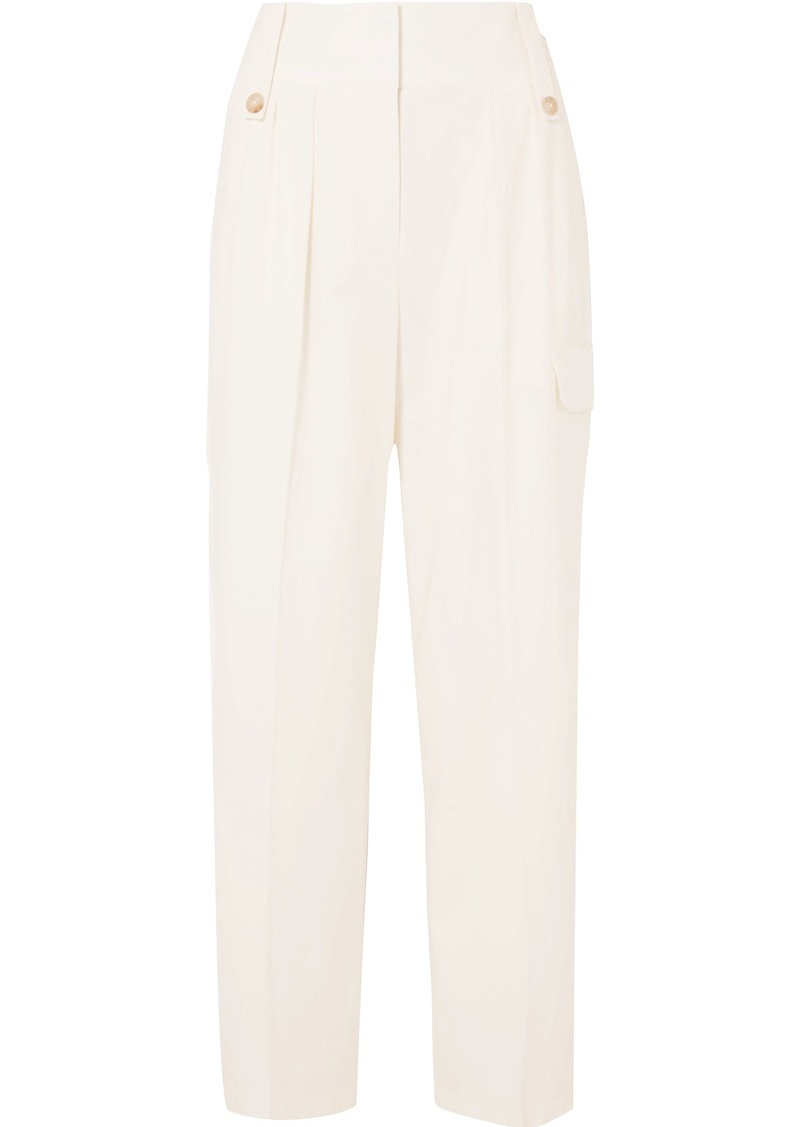 The Row Woman Kiefer Pleated Wool-blend Straight-leg Pants Off-white