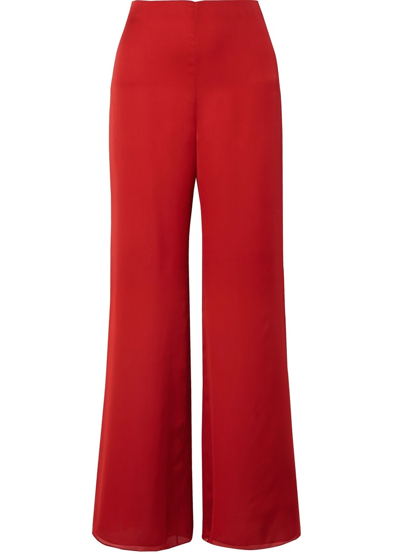 The Row Woman Kiola Washed Silk-charmeuse Wide-leg Pants Red