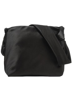 The Row Woman Knotted Satin Shoulder Bag Black