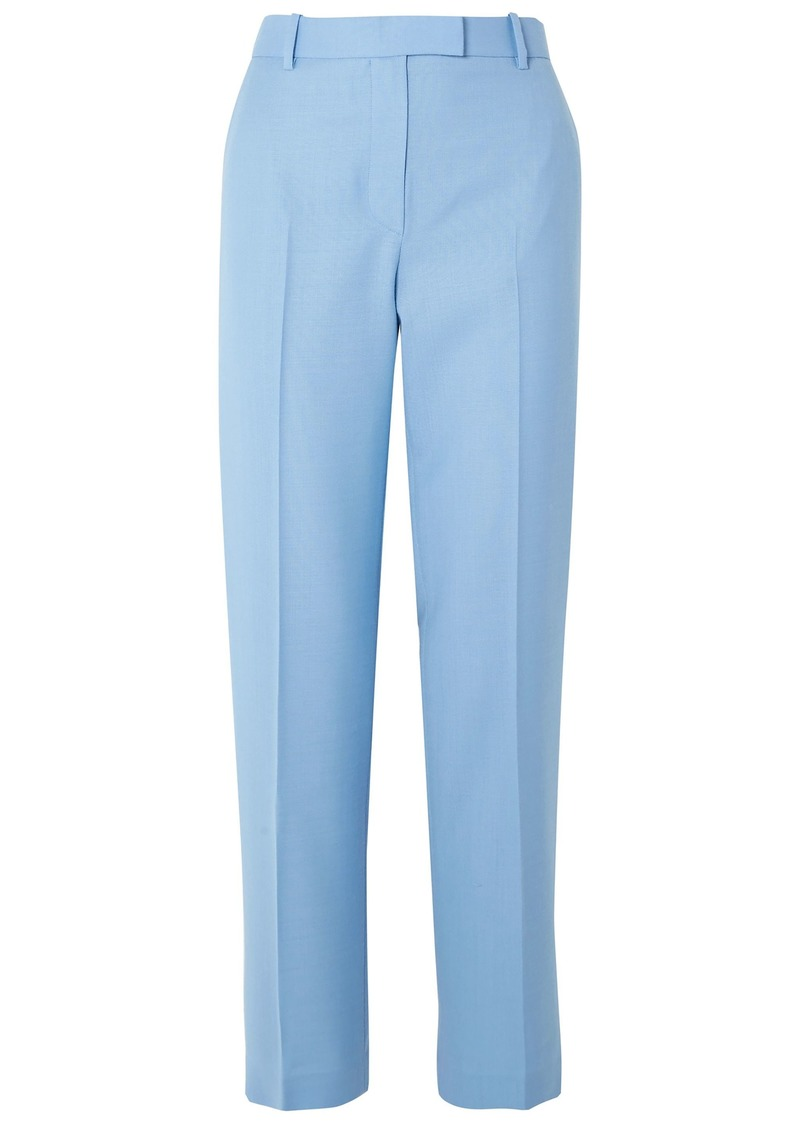 The Row Woman Lada Grain De Poudre Wool Straight-leg Pants Light Blue