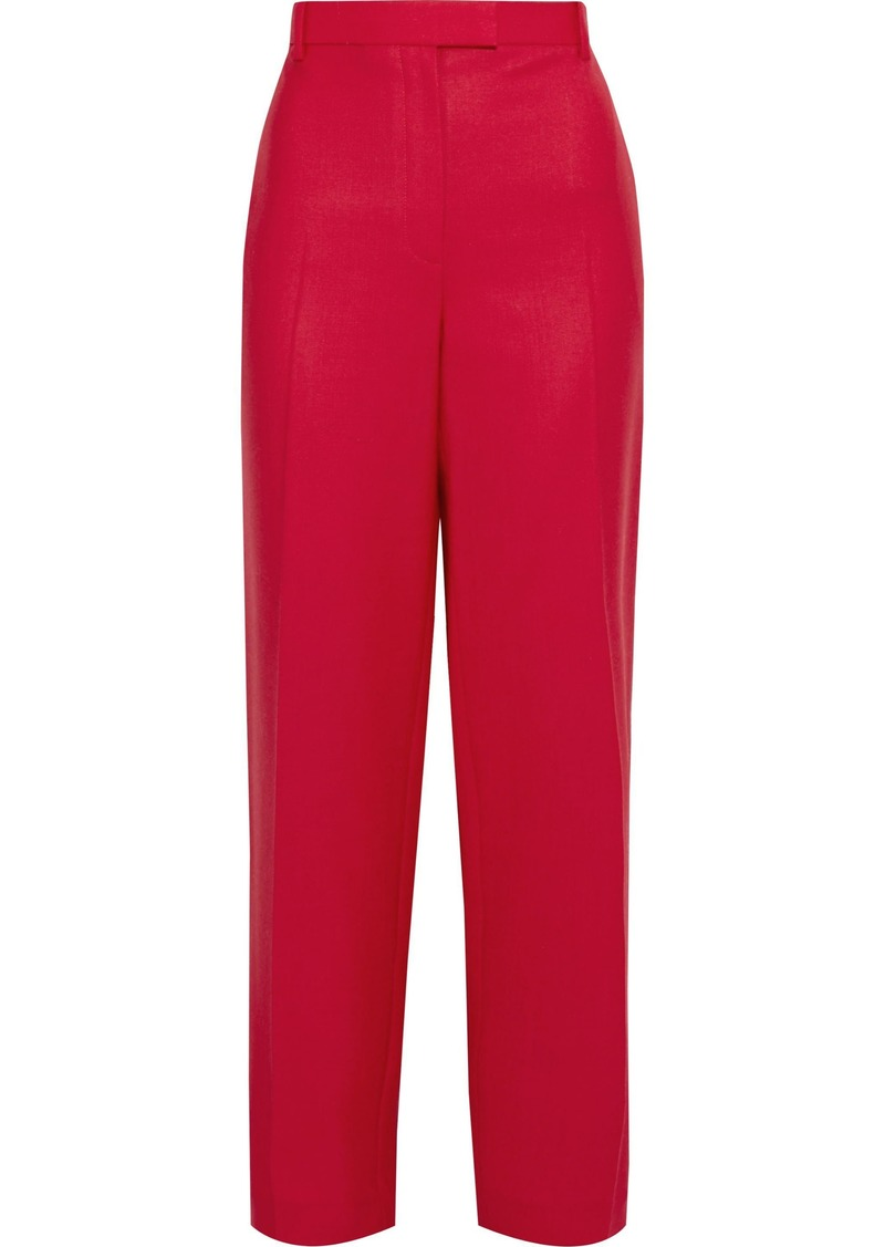 The Row Woman Lada Grain De Poudre Wool Straight-leg Pants Red
