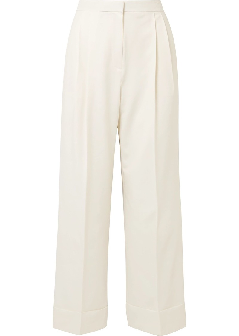 The Row Woman Lian Pleated Wool-blend Wide-leg Pants Off-white