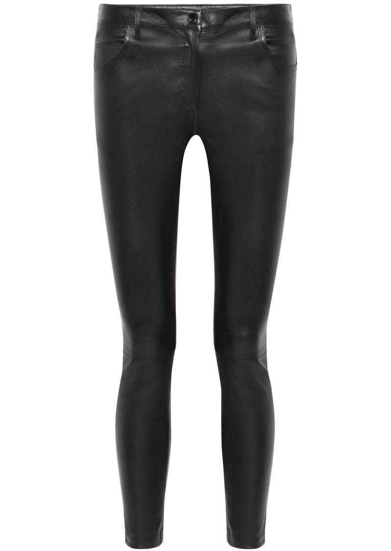 The Row Woman Maddly Leather Skinny Pants Black