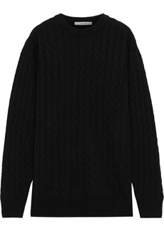 The Row Woman Cable-knit Cashmere And Silk-blend Sweater Black
