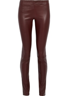 The Row Woman Moto Stretch-leather Leggings Burgundy
