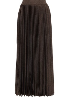 The Row Woman Omin Pleated Wool And Silk-blend Midi Skirt Brown