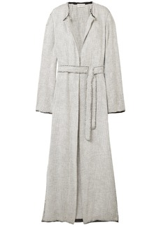 The Row Woman Paycen Belted Tweed Coat Light Gray