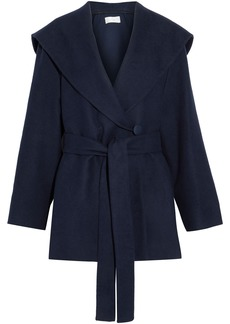 The Row Woman Reyna Cotton And Wool-blend Felt Hooded Jacket Navy