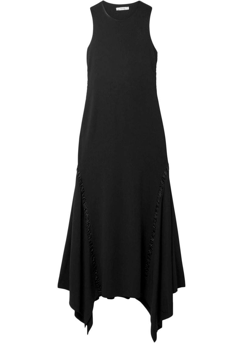 The Row Woman Ruched Satin-trimmed Cady Midi Dress Black