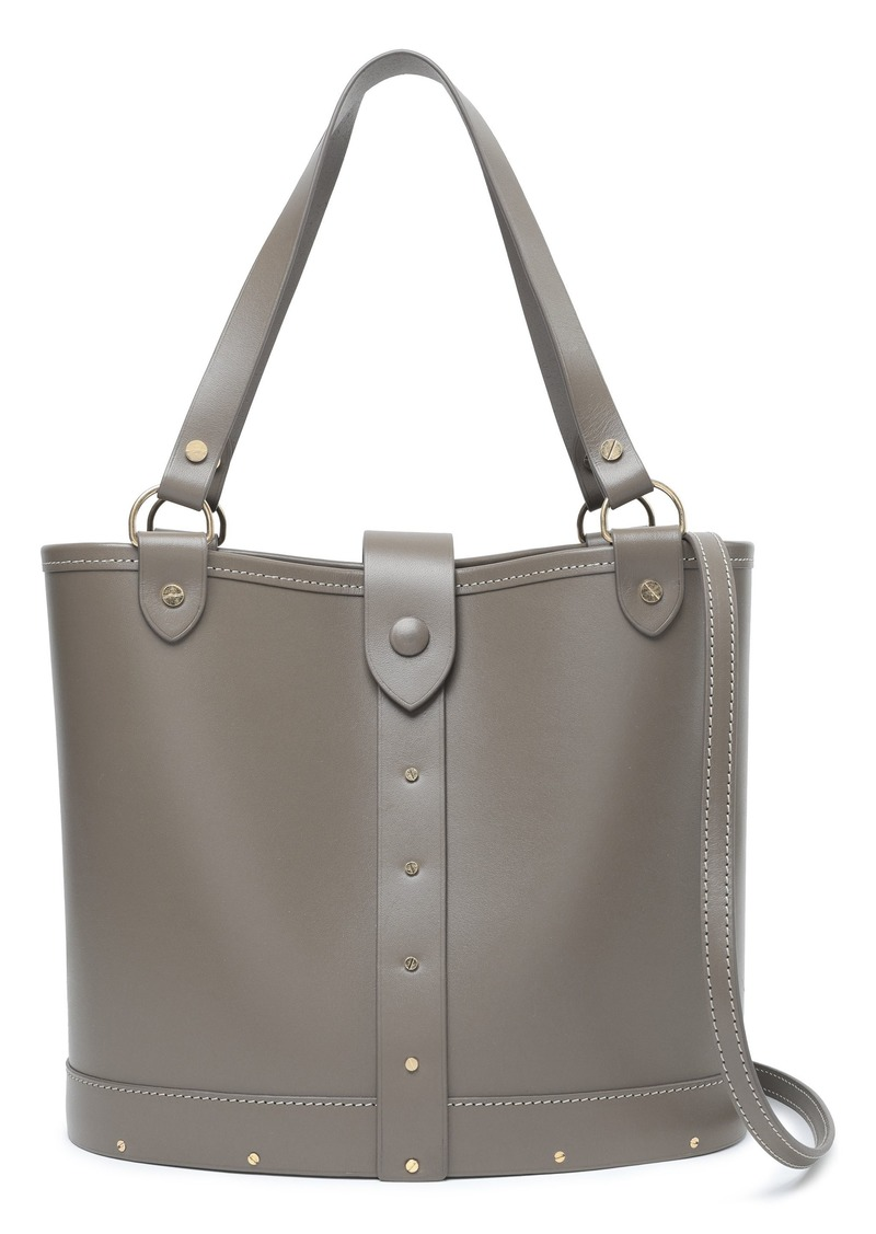 The Row Woman Studded Leather Shoulder Bag Taupe