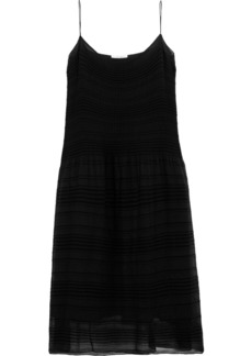The Row Woman Tanya Plissé-georgette Midi Slip Dress Black
