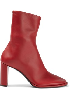 The Row Woman Teatime Leather Ankle Boots Red