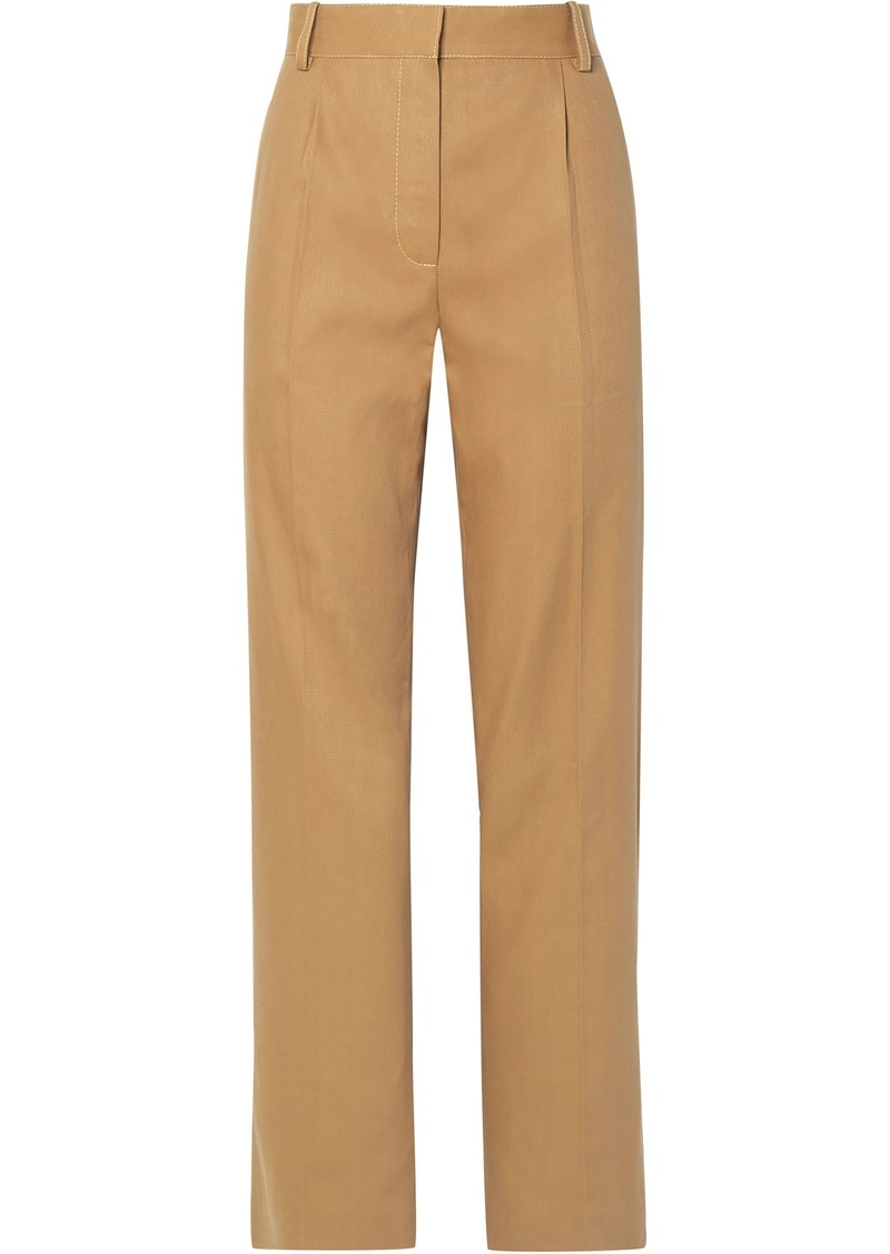 The Row Woman Thea Pleated Linen And Cotton-blend Straight-leg Pants Camel