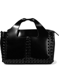 The Row Woman Two For One 12 Braided Glossed-leather Tote Black