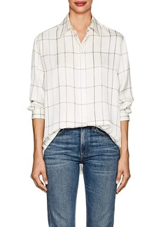 The Row Women's Sisea Windowpane-Checked Silk Satin Blouse