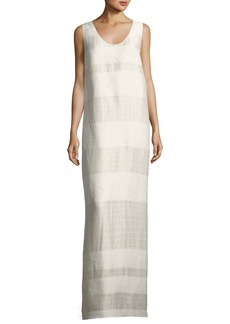 The Row Yellin Sleeveless Textured Stripe Linen-Silk Maxi Dress