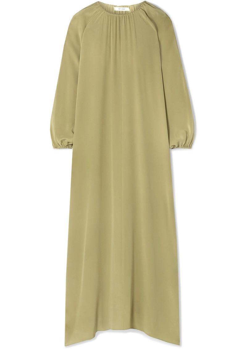 The Row Theo Gathered Silk Crepe De Chine Maxi Dress