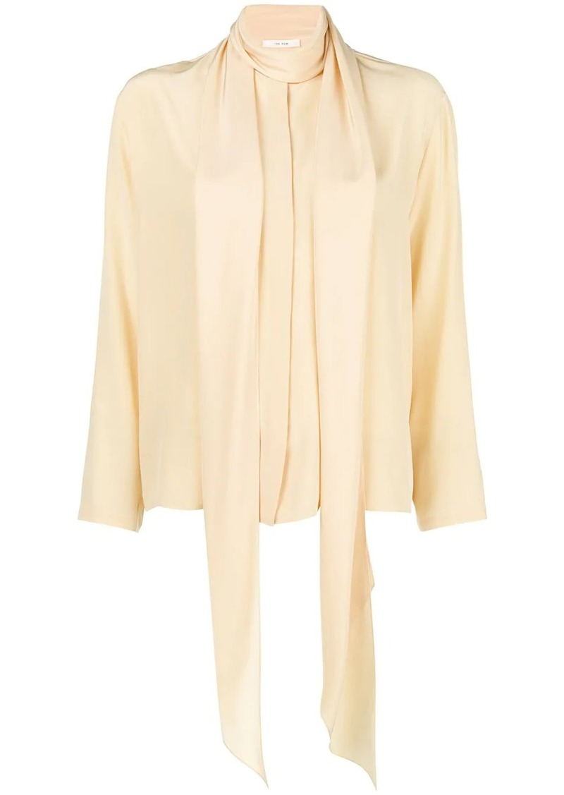 The Row tie-neck silk shirt