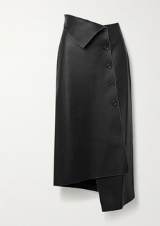 The Row Verna Asymmetric Leather Midi Skirt