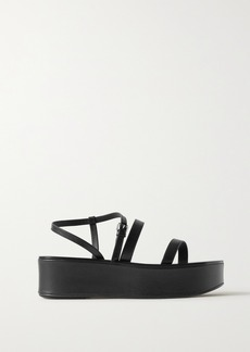 The Row Wedge Leather Platform Sandals