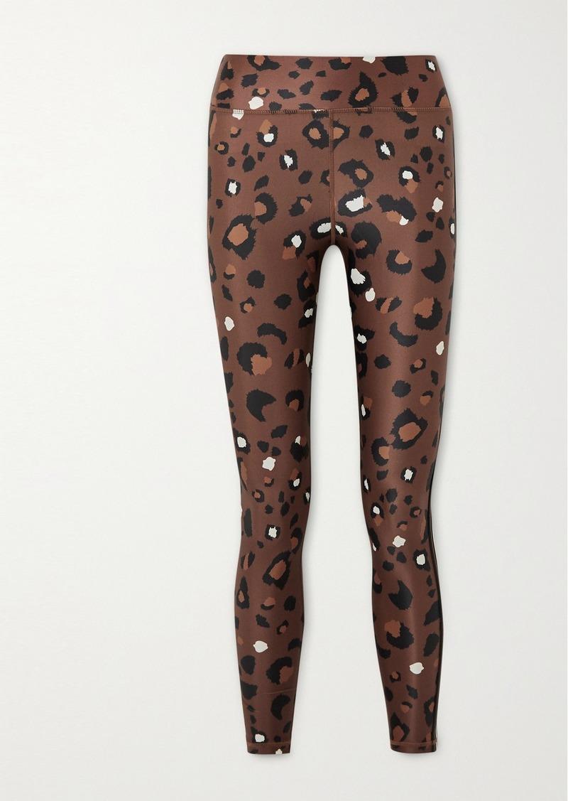 Cropped Striped Leopard-print Stretch Leggings