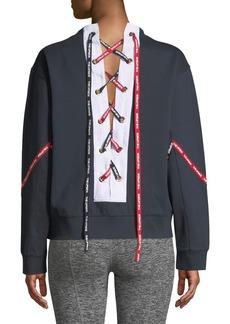 The Upside Lace-Up Logo Crewneck Sweatshirt