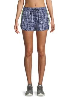 The Upside Drawstring Ikat-Print Neon Side-Stripe Shorts