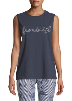 The Upside Feminist Embroidered Cotton Muscle Tank