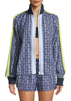 The Upside Ikat-Print Zip-Front Neon-Stripe Jacket