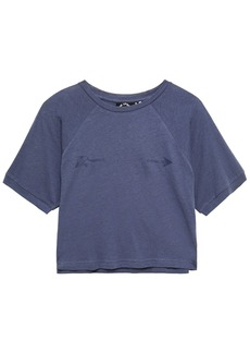 The Upside Woman Cropped Printed Cotton And Linen-blend Jersey T-shirt Storm Blue