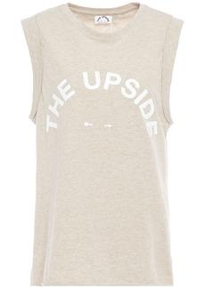The Upside Woman Printed Slub Cotton-jersey Tank Light Gray