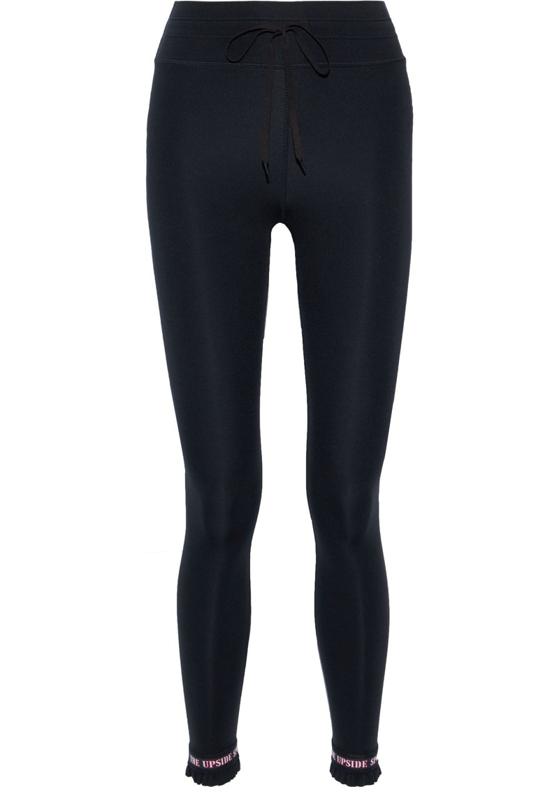 The Upside Woman Frill Matte Ruffle-trimmed Stretch Leggings Black