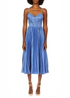 Theia Allison Sweetheart Pleated Midi Dress