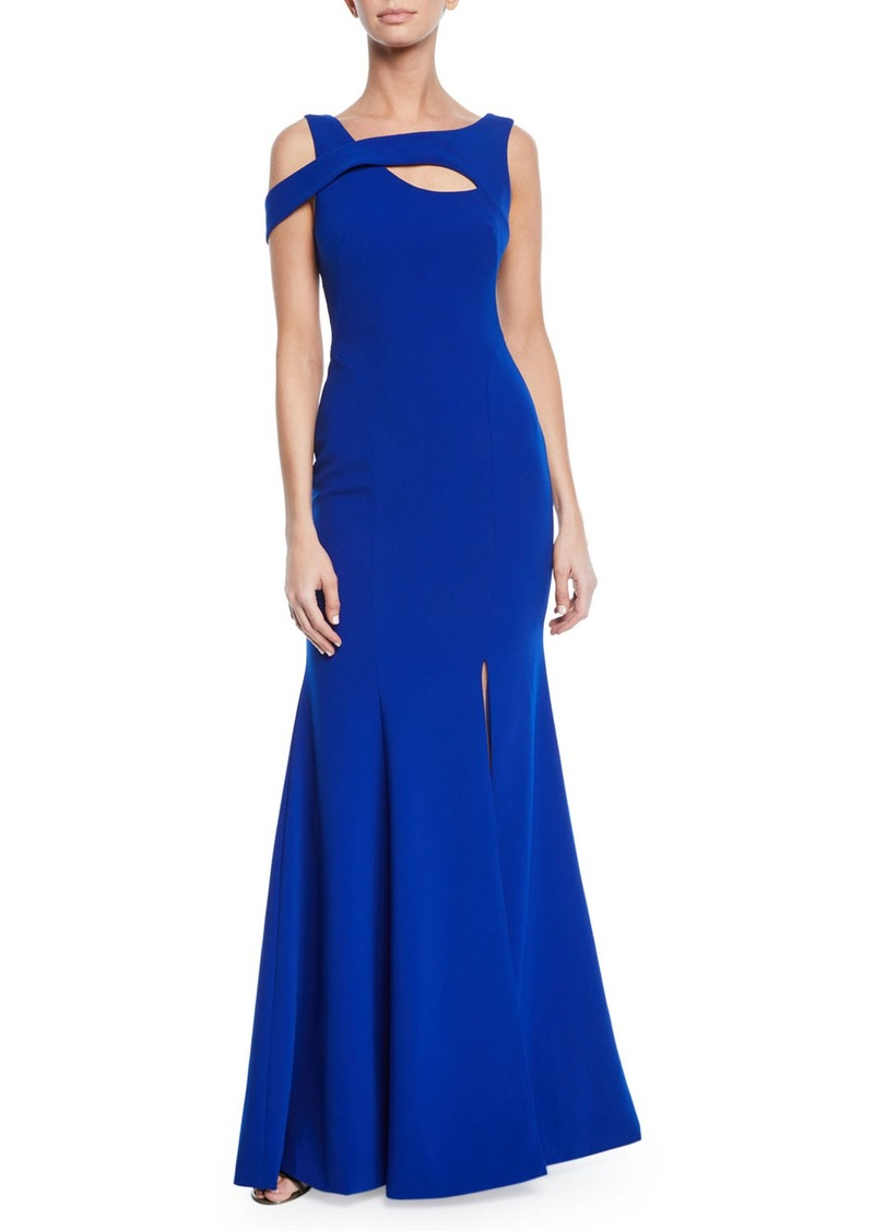 Theia Asymmetric Off-the-Shoulder Trumpet Gown w/ Front Keyhole