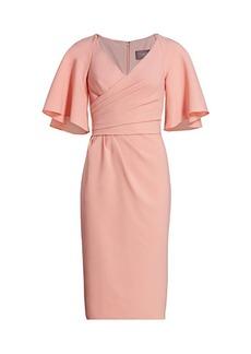 Theia Asymmetric Wrap-Front Midi Dress