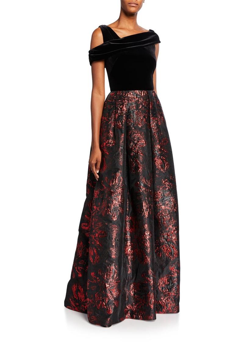 Theia Asymmetrical Velvet Bodice Brocade Skirt A-Line Gown