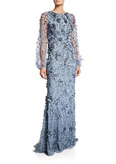 Theia Balloon-Sleeve Petal Embellished Column Gown