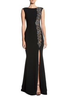 Theia Beaded & Sheer High-Slit Sleeveless Gown