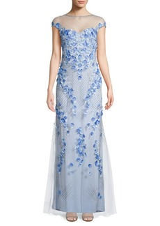 Theia Beaded 3D Floral Gown