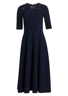 Theia Beaded Appliqué Midi Dress