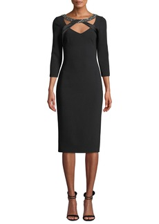 Theia Beaded Band Illusion Neckline Crepe Cocktail Dress